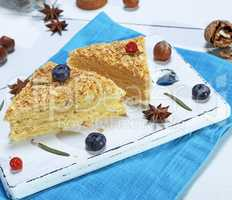 pie Napoleon made of puff pastry with custard