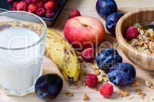 Super breakfast with muesli, berries, fruits and milk