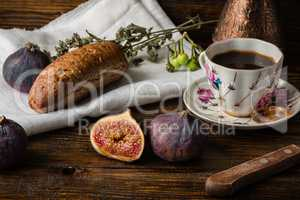 Light breakfast with coffee, bun and few figs.