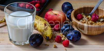 Breakfast bowl with muesli, berries, fruits and milk
