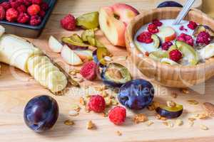 Muesli with sweet berries, fruits and milk
