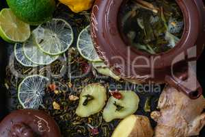 Ingredients fortea recipe with lime and ginger