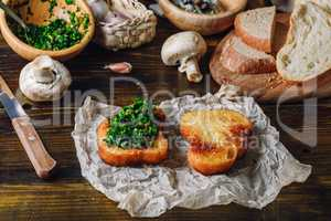 Bruschetta with Italian Herbs Mix and Baked Slice