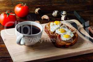 Cup of Coffee and Bruschetta with Fried Eggs