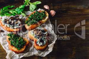 Four Portion of Bruschetta on Paper