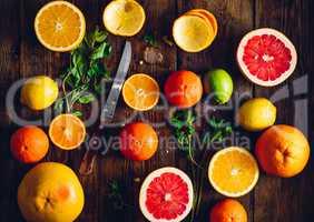 Citrus Fruits Background.