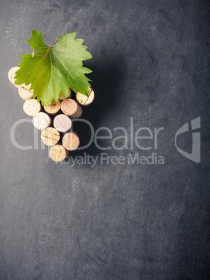 Grapes shape on a blackboard