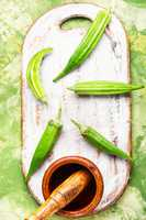Raw green organic okra
