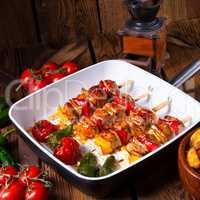 original hungarian shashlik with onion and paprika