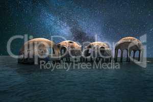 Milky way stars across a night sky over the Cape Romano dome hou