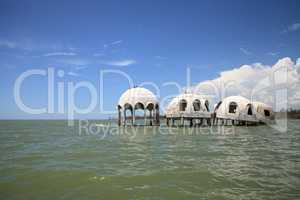 Blue sky over the Cape Romano dome house ruins