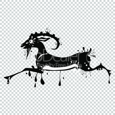 Animal goat chinese Lunar symbol. Chinese calligraphy goat. Vector illustration.