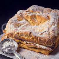 Karpatka is a traditional Polish cream pie filled with russel cr