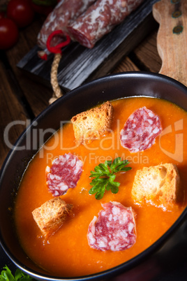 Hungarian paprika cream soup with spicy sausage
