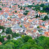 Panorama of the city. Germany. The type of roofs and streets fro