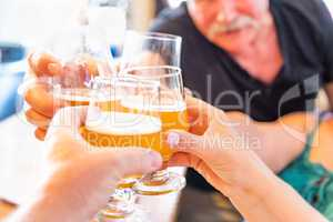 Friends Toast Glasses of Micro Brew Beer At Bar