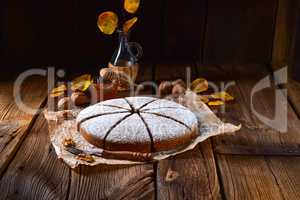 Fresh and tasty autumnal walnut cake with honey