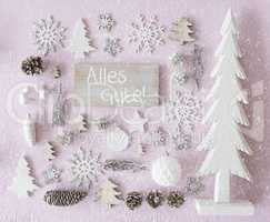 Christmas Decoration, Flat Lay, Alles Gute Means Best Wishes, Snowflakes