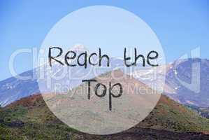 Vulcano Mountain, English Text Reach The Top