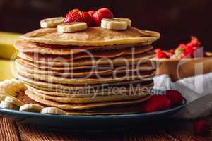 Pancake Stack with Strawberry and Banana.