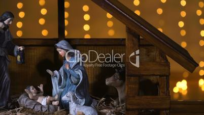 Jesus Christ birth in stable Christmas scene