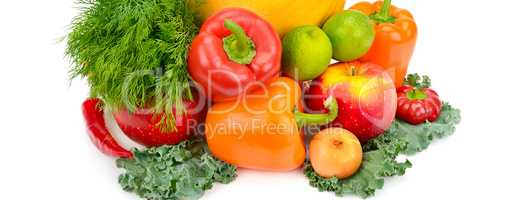 Fruits and vegetables isolated on a white background. Wide photo