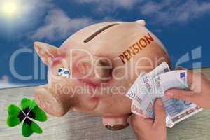 Pension written on a piggy bank. Retirement concept.