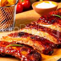 BBQ spare ribs from a charcoal grill