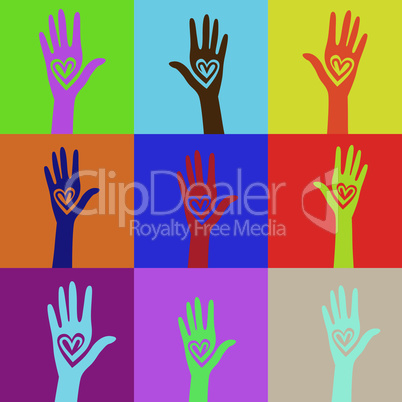 People support hand like heart united seamless background. Vector pattern illustration .