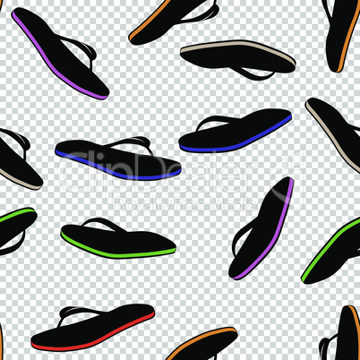 Pair seamless flip flops. Vector slippers beach shoes icon