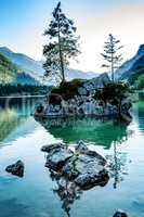 Lake Hintersee in the Bavarian Alps near Berchtesgaden