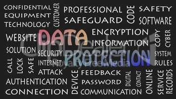 Data Protection, security privacy concept in background black.