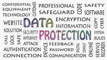 Data Protection, security privacy concept in background white.