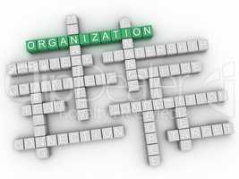 3d Organization word cloud, business concept background