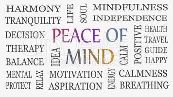 Peace of mind, motivational and inspirational concept. White bac