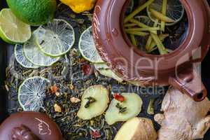 Ingredients for tea with lime and ginger.