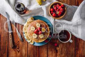 Breakfast with Homemade Pancakes and Fruits.