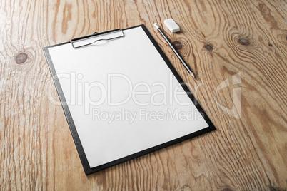 Clipboard with blank letterhead