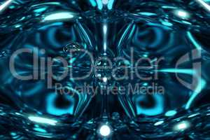 Fantastic blue shining space. A particle frozen in time. Abstract blue background.