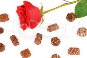 Assortment of chocolates and red rose isolated on white backgrou