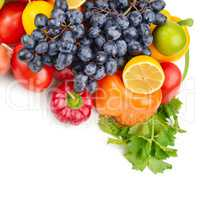 Fruits and vegetables isolated on a white background. Free space