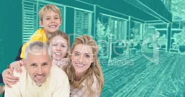 Family in front of house drawing sketch