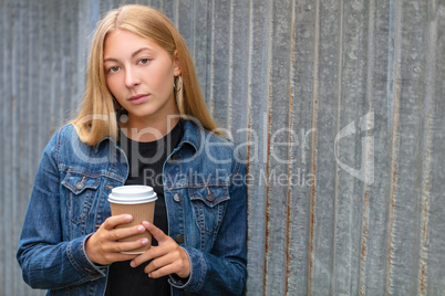 Sad Thoughtful Dedpressed Teenager Young Woman Drinking Coffee