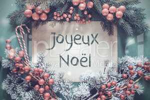 Christmas Garland, Fir Tree Branch, Joyeux Noel Means Merry Christmas