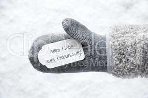 Wool Glove, Label, Snow, Geburtstag Means Birthday