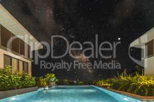 Tropical Swimming Pool with starry sky