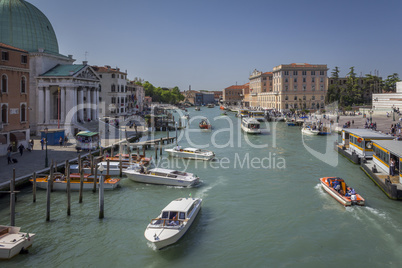 Grand Canal and city skyline , Venice , Italy
