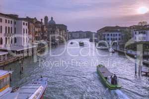Grand Canal and city skyline , Venice , Italy