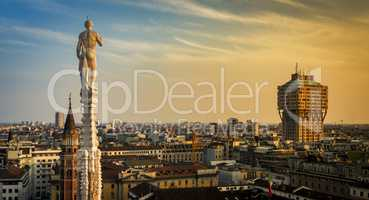 Skyline of Milan, Italy at sunset. View from the Roof Terrance o