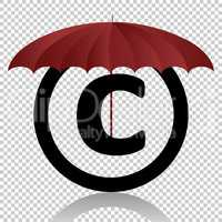 Copyright symbol protection isolated on transparent background. Black symbol for your design. Vector illustration, easy to edit.